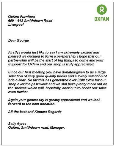 Oxfam letter